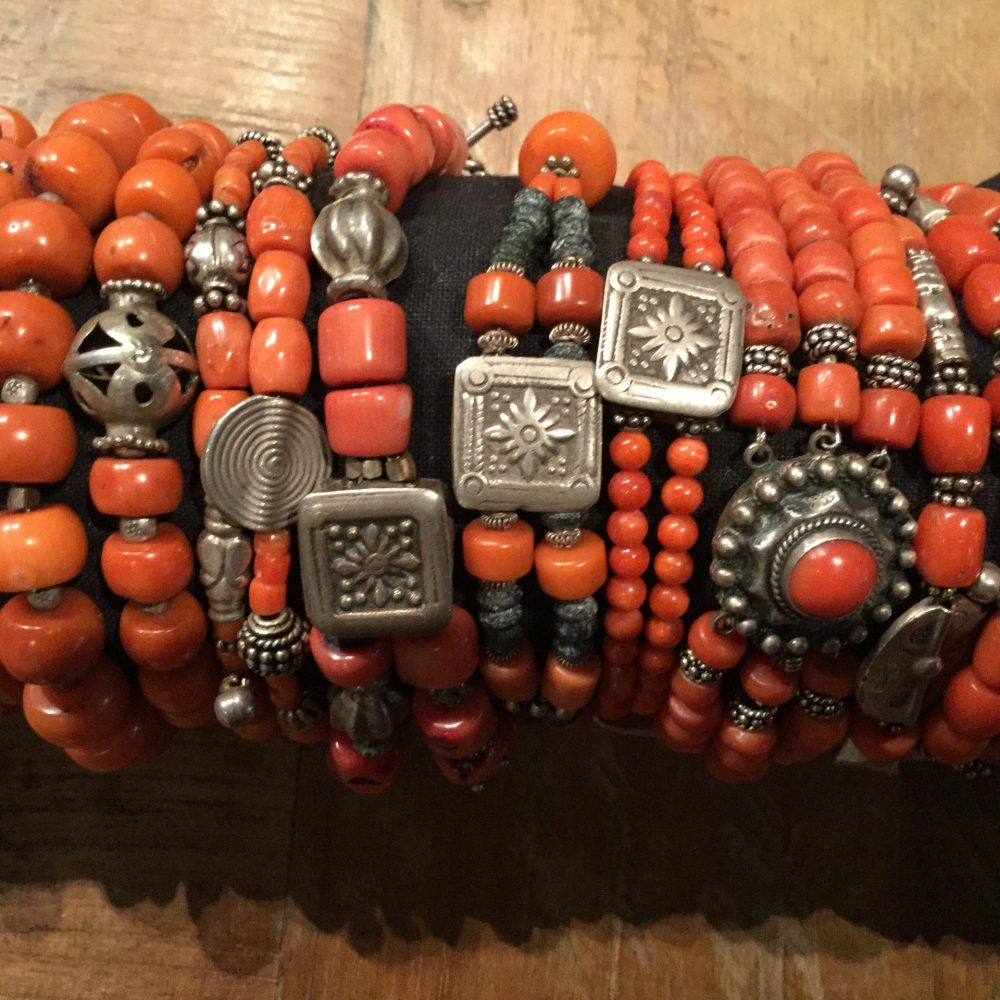 Red coral bracelets with silver beads